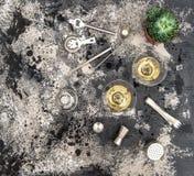 Decoración suculenta de la planta del cóctel de la bebida de Champán Imágenes de archivo libres de regalías