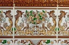 Decoración típica de la fachada de la casa en Lisboa Baldosas cerámicas tradicionales Azulejos imagenes de archivo