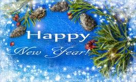 Decoración tradicional de la Navidad en fondo de madera Tarjeta del ejemplo del ` de la Feliz Año Nuevo del ` de la acuarela Fotos de archivo