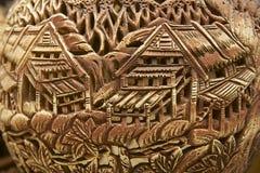 Decoración tribal en los recuerdos tradicionales, Kuching, Sarawak, Malasia de los motivos Imágenes de archivo libres de regalías