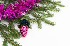 Decoración verde del Año Nuevo del árbol de navidad Imagen de archivo
