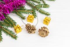 Decoración verde del Año Nuevo del árbol de navidad Fotos de archivo