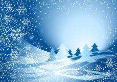 Decoración y árbol azules de la Navidad Foto de archivo