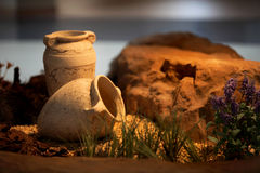 Decoración y arte de cerámica de los jarros de la arcilla de los floreros Foto de archivo
