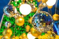 decoración y bokeh de luces de Navidad para el backg del Año Nuevo de la Navidad Foto de archivo
