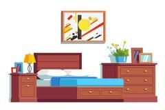 Decoración y muebles del dormitorio con la cama matrimonial Fotos de archivo libres de regalías