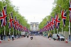 Decoración y preparación del jubileo de diamante de la reina Fotografía de archivo libre de regalías