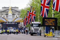 Decoración y preparación del jubileo de diamante de la reina Foto de archivo libre de regalías