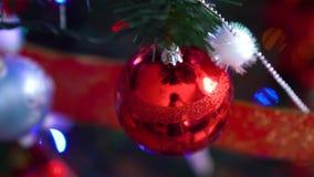 Decoraci?n de la Navidad en ?rbol con las luces de la Navidad Bola 2019 del cerdo almacen de metraje de vídeo