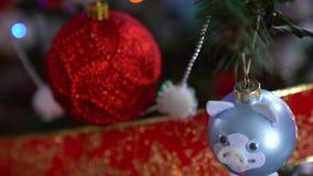 Decoraci?n de la Navidad en ?rbol con las luces de la Navidad Bola 2019 del cerdo metrajes