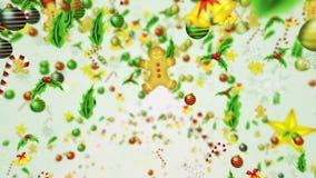 Decoraci?n de lujo con el cristal de la nieve Modelo de los elementos de la Navidad Animaci?n del lazo del invierno Fondo blanco ilustración del vector
