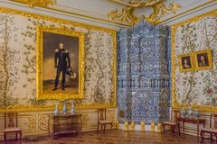 Decoraci?n interior Catherine Palace, Tsarskoye Selo, Rusia en Tsarskoe Selo el jard?n de Alexander imágenes de archivo libres de regalías