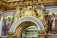 Decoraci?n interior de la catedral del St Isaac, St Petersburg, Rusia foto de archivo libre de regalías