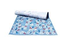 Decoración, alfombra azul Fotografía de archivo