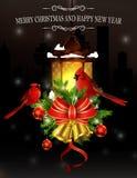 Decoración de la Navidad con la luz de calle Fotografía de archivo