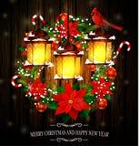 Decoración de la Navidad con las luces de calle Imagen de archivo