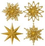 Decoración de la Navidad de la estrella del copo de nieve, escama de la nieve del oro de Navidad, aislada Fotografía de archivo