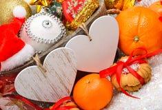 Decoración de la Navidad, ramita del pino, tarjeta para el texto Imagen de archivo