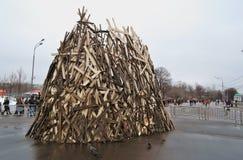 Decoración del día de fiesta en la celebración de Shrovetide (semana de la crepe) en Moscú Foto de archivo libre de regalías