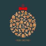 Decoración del árbol de navidad Tarjeta linda de las vacaciones de invierno Imagen de archivo libre de regalías