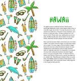 Decoración que practica surf y que se zambulle dibujada mano Día de fiesta de Hawaii Fondo del vector del turismo Bandera o carte Imagenes de archivo