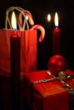 Decoración roja festiva de la Navidad Fotos de archivo