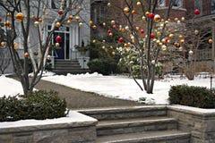 Decoraciones al aire libre de la Navidad fotografía de archivo libre de regalías