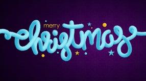 Decoraciones azules claras de las letras y del día de fiesta de la malla de la Feliz Navidad stock de ilustración