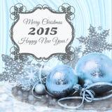 Decoraciones azules de la Navidad en fondo rayado Imágenes de archivo libres de regalías