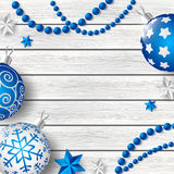 Decoraciones azules de Navidad en fondo de madera stock de ilustración