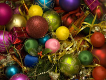 Decoraciones brillantes coloridas de la Navidad Imagen de archivo