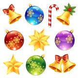 Decoraciones brillantes de la Navidad Imagen de archivo libre de regalías