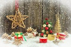 Decoraciones caseras de la Navidad Foto de archivo