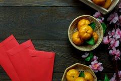 Decoraciones chinas del festival del Año Nuevo de los accesorios de la visión superior Fotos de archivo libres de regalías