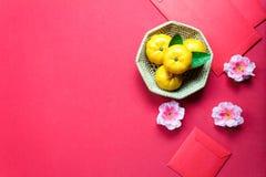 Decoraciones chinas del festival del Año Nuevo de los accesorios de la visión superior Orang Fotos de archivo libres de regalías