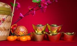 Decoraciones chinas del festival del Año Nuevo, prisionero de guerra del ANG o paquete rojo y Imágenes de archivo libres de regalías