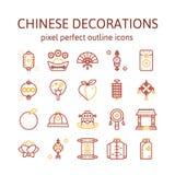 Decoraciones chinas: Iconos del esquema, pictograma y colección del símbolo stock de ilustración