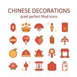 Decoraciones chinas: Iconos del esquema, pictograma y colección llenados del símbolo libre illustration