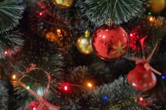 Decoraciones coloridas de la Navidad en el árbol de abeto, picea Imagen de archivo