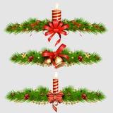 Decoraciones con el árbol de abeto, cascabeles de oro de la Navidad Ilustración del vector Fotos de archivo libres de regalías
