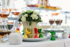 Decoraciones con las flores, decoraciones de la boda Fotos de archivo