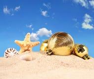 Decoraciones, conchas marinas y estrellas de mar de la Navidad en una arena de la playa Imágenes de archivo libres de regalías