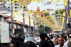 Decoraciones de Deepavali en la poca India, Singapur Foto de archivo