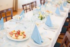 Decoraciones de la boda - tabla determinada Fotos de archivo