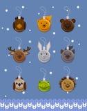 Decoraciones de la bola de la Navidad en la forma de animales del bosque, vector plano stock de ilustración