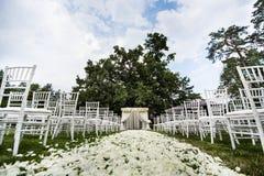 Decoraciones de la ceremonia de boda Foto de archivo libre de regalías