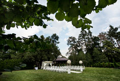 Decoraciones de la ceremonia de boda Fotografía de archivo
