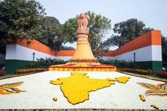 Decoraciones de la ciudad para el día de fiesta del día de la república en el Banco Nacional de Delhi la India Fotografía de archivo libre de regalías