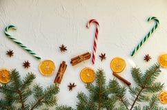 Decoraciones de la comida del Año Nuevo con las ramas del abeto, tres rojos y conos verdes del caramelo y especias tradicionales  Fotos de archivo libres de regalías