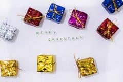 Decoraciones de la Feliz Navidad fotografía de archivo